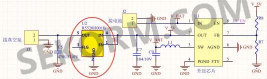 将r5520h加入到图2初始原理图红线line1位置--真空泵和升压芯片之间