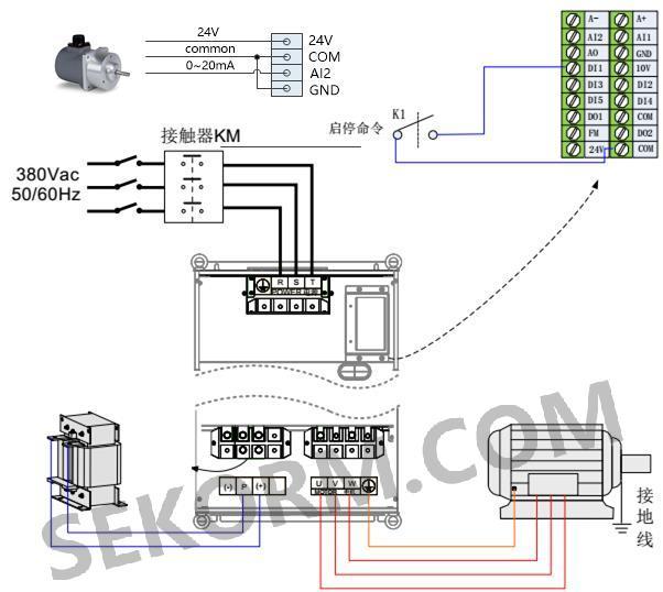 图八:te旋转电位器与变频器应用接线示意图