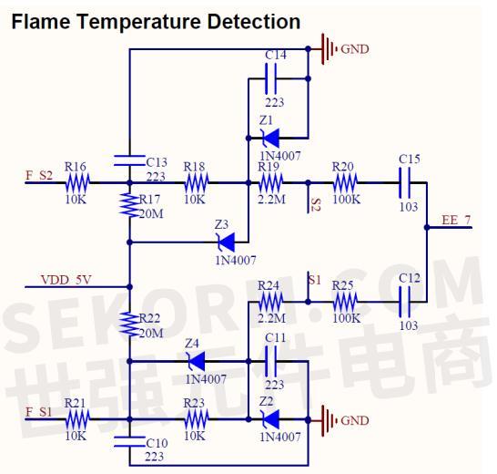 火焰温度检测电路 高压脉冲点火后,开始检测热电偶反馈的电压信号.