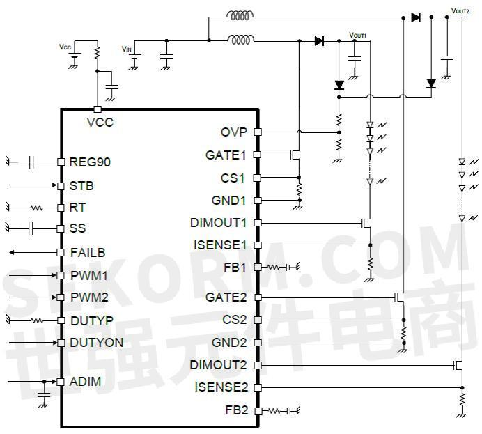 bd9416xx白光led驱动器典型应用电路