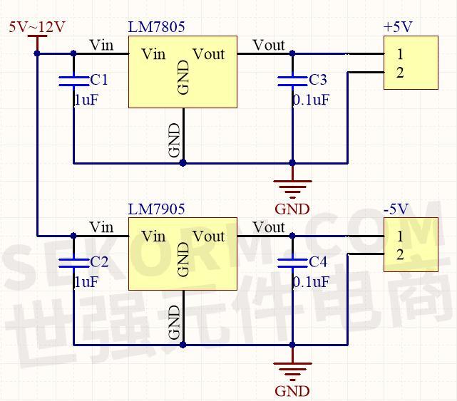 lm7805和lm7905正负压转换典型应用电路