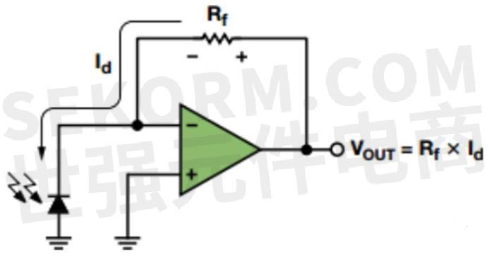 光电二极管的典型应用电路示意图