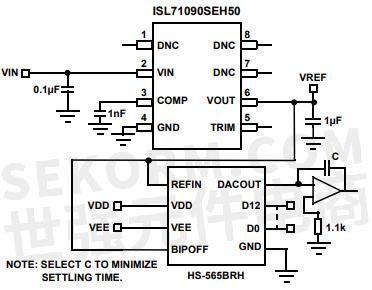 isl71090seh50基准电压源典型应用电路图