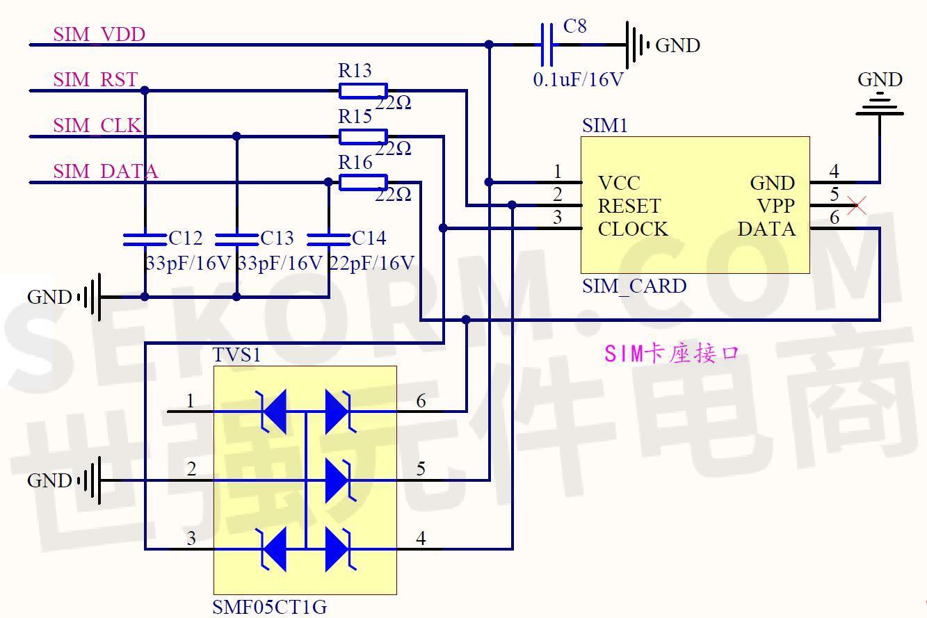 sim800/900模块sim卡接口电路原理图