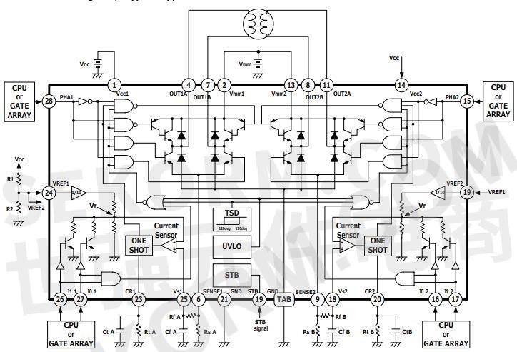 mtd2018f双通道全桥微步pwm电机驱动器ic典型应用电路