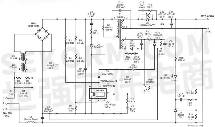 输入电压的升高而降低,无需为了满足受  ·限功率源的要求而对次级侧