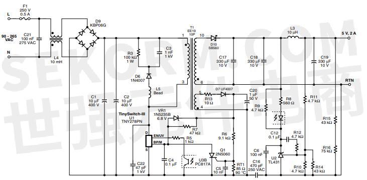 图1. 使用tny278pn的10 w适配器电路图