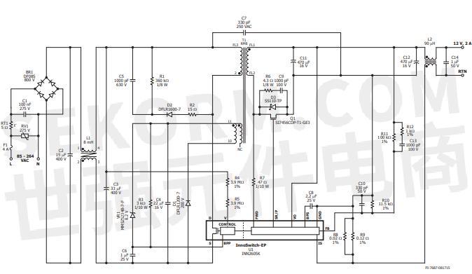 热敏电阻rt1可在电源连接至ac输入供电时限制浪涌电流.