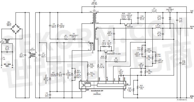 桥式整流管br1对ac输入电压进行整 流,并对由c1和c2组成的滤波器提供