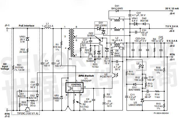 图1. poe接口电路 — 使用了一个双极性三极管通路开关及dpa424p
