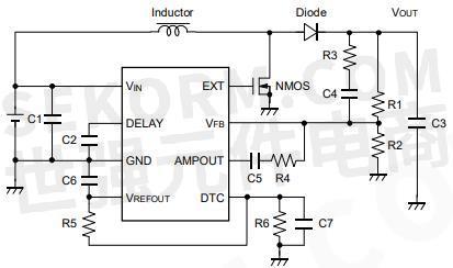 pwm升压型dc/dc控制器r1212d典型应用电路