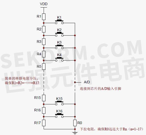 a/d 按键输入采集控制 a/d 模块通过采集由外部电阻进行分压后的电压