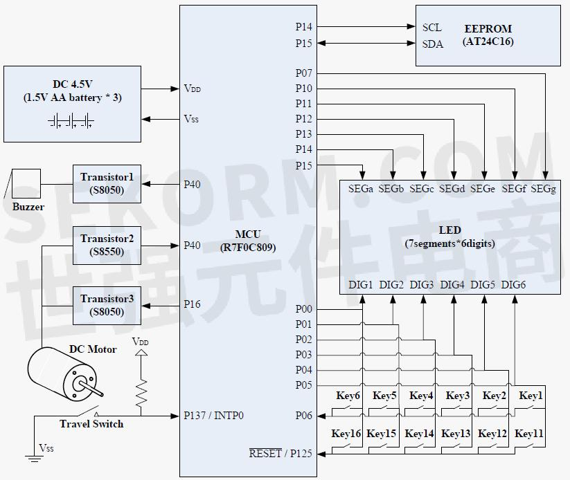 电子密码保险箱硬件结构框图