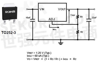 rohm 低压差线性稳压器ba1117fp-e2实物图及典型应用电路