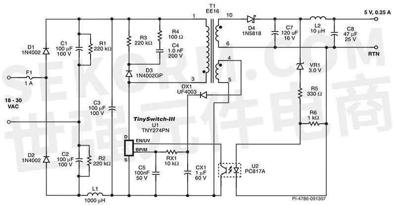 25w反激式转换器的电路图
