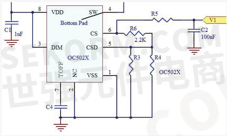 根据电路可计算采样电阻上的实际采样电压值非内部的0.