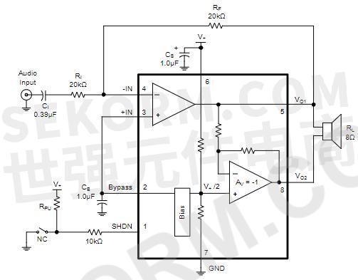 【应用】ab类音频功率放大器sgm4871,5v下失真度仅为10%,适用于音频设