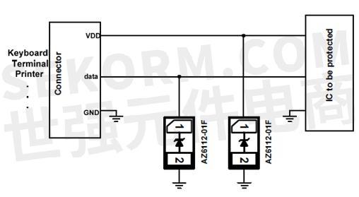 r7gr单向tvs管保护的数据线保护电路