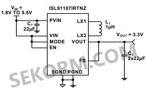 【产品】可实现工作模式自动切换的降压-升压型开关稳压器isl91107ir